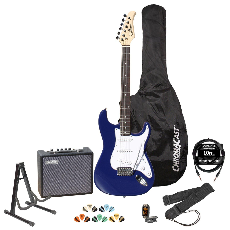 Silvertone revólver SS11 Colbalt azul guitarra eléctrica w/soporte, correa, afinador, cuerdas, 10 W Amp, 10 Cable, púas y bolsa de guitarra: Amazon.es: ...