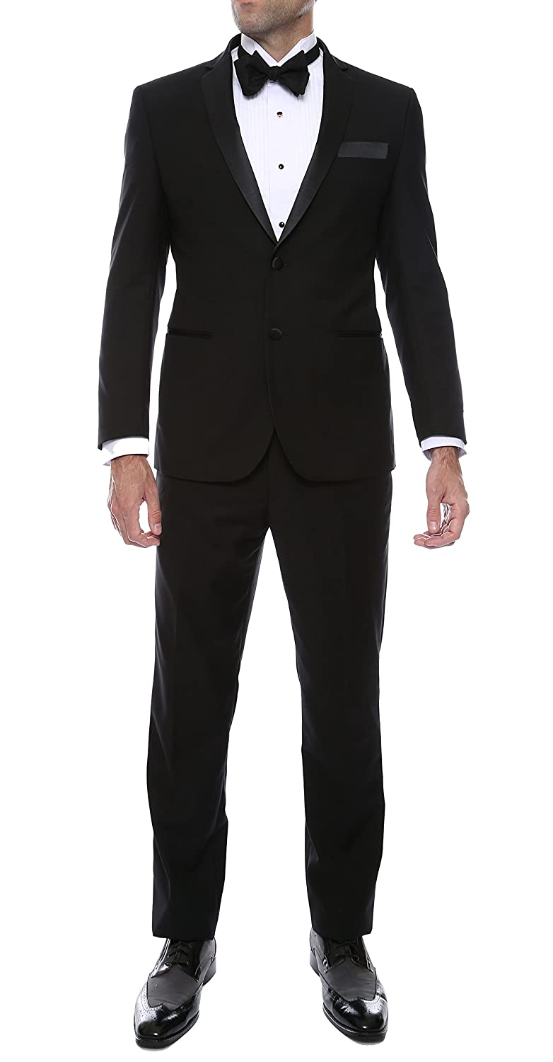 Ferrecci メンズ プレミアム 2ピース & 3ピース 超快適スリムフィット タキシード B00US4LO4Y 38 Long / 32 Waist|Ferrecci Bronson Black Notch Lapel Tux Ferrecci Bronson Black Notch Lapel Tux 38 Long / 32 Waist