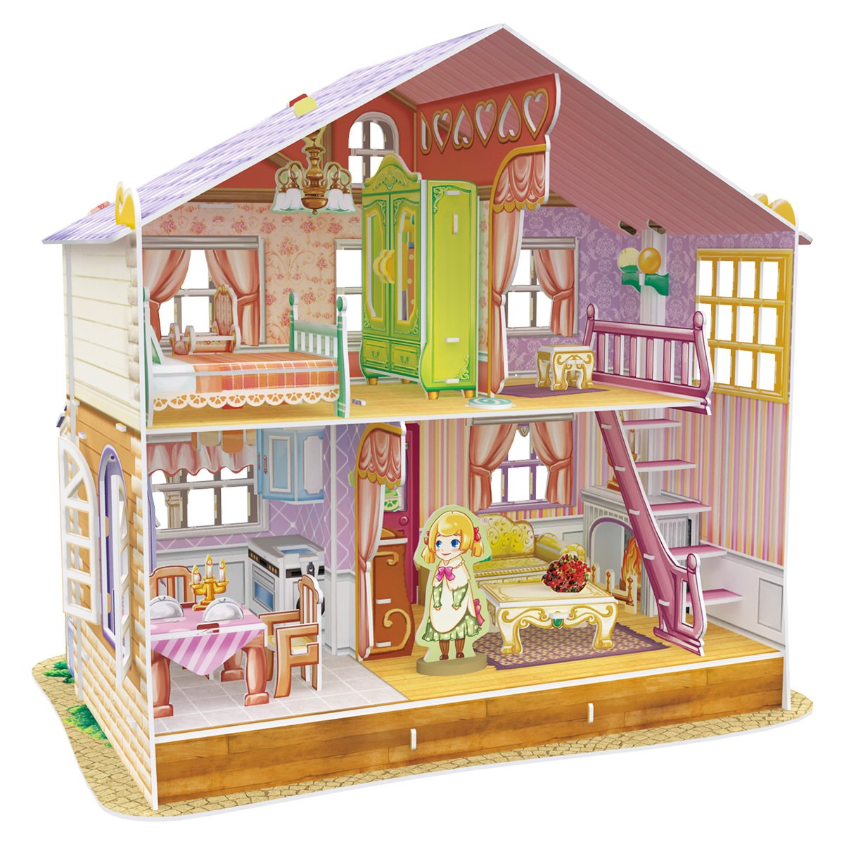 CubicFun Miniature Dollhouse Kits with Furniture,Kids House 3D Puzzle Toys,Sara's Home P678h