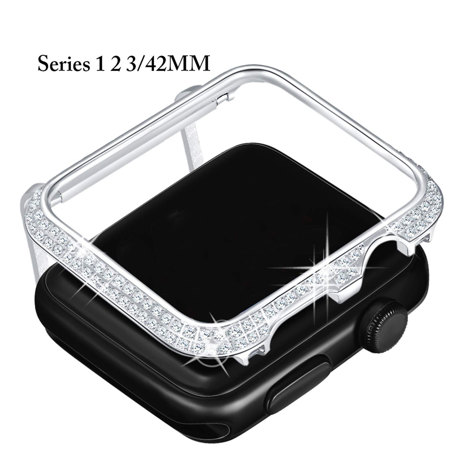 Callancity Metal Rhinestone Crystal Diamond Jewelry Bezel Case Bling Face Plate Cover Decorative Protective Frame Compatible Apple Watch 42mm Series 3 2 1(Platinum White Crystals) for Men/Women