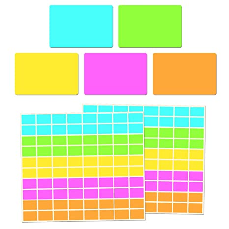 Amazon.com: Etiquetas de codificación de color rectangulares ...