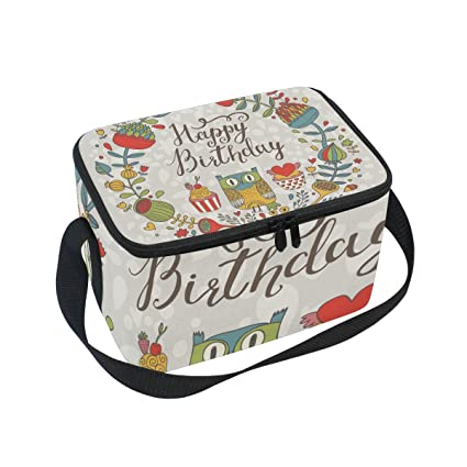 COOSUN Búhos Feliz cumpleaños Aislado Caja de Almuerzo del Bolso más Fresco Bolsa de Asas Reutilizable
