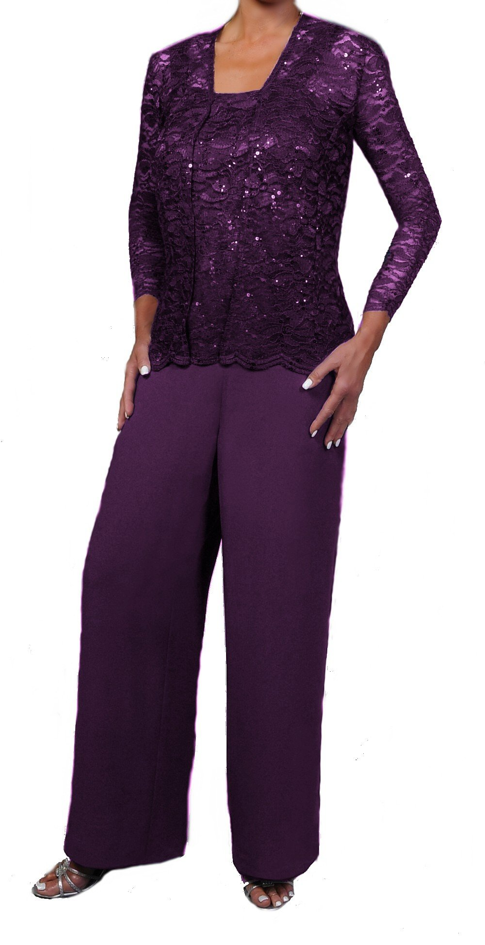 Love My Seamless Elegant Mother Of The Bride Formal 3 Piece Pant Suit Lightly Beaded Lace (3X, Plum)