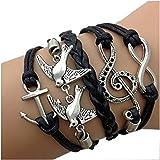 CargoMix® Wachs Seil geflochtene Schwarz Armband, Unendlichkeit / Unendlich mit Vögel Schlucken mit Ton / Wunsch Anchor Armband, Freundschaft Armband