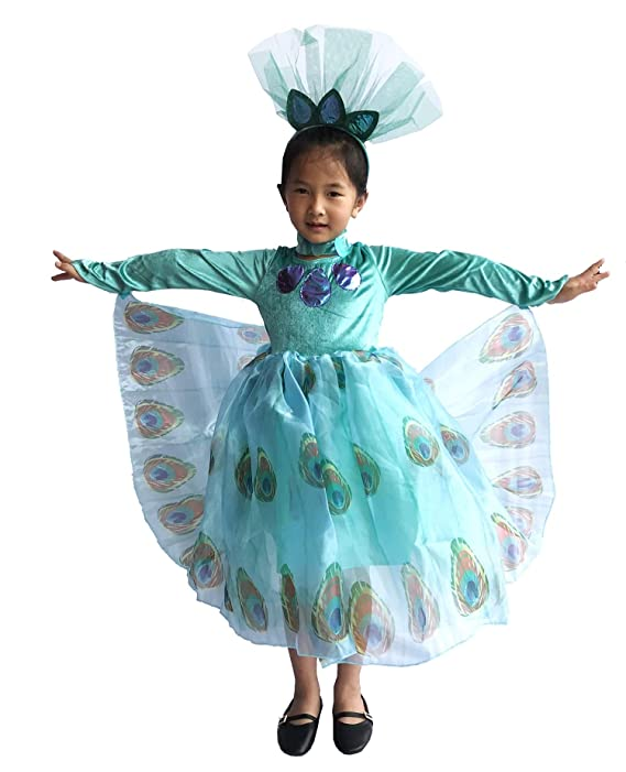 So Sydney Deluxe Peacock Turquoise Blue Bird Halloween Costume & Accessories, Girls Toddler Dress-Up (L (7/8), Peacock)