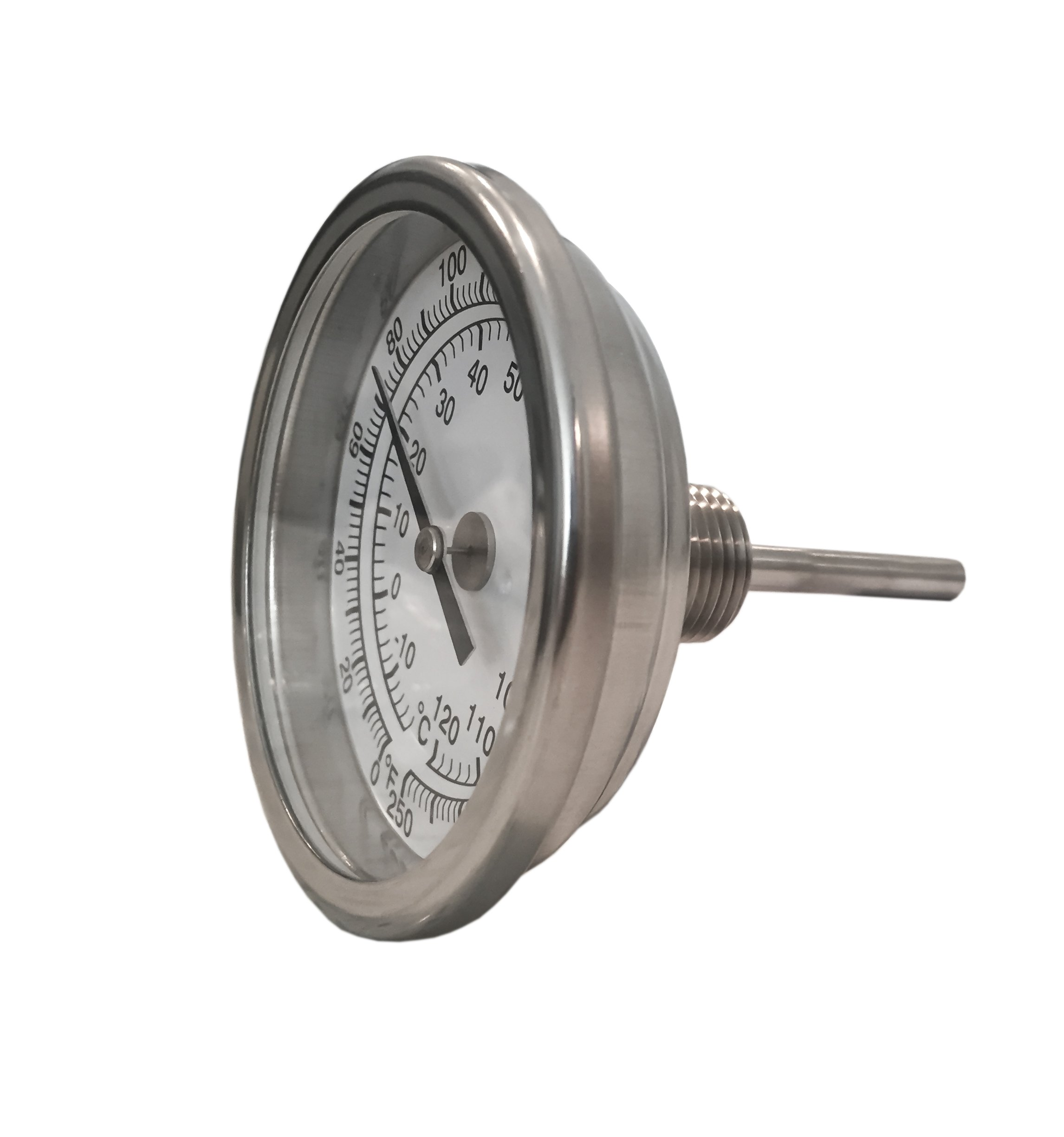 CNSG 3'' Dial x 2.5'' Stem Brewing/Distilling Thermometer with 1/2'' NPT