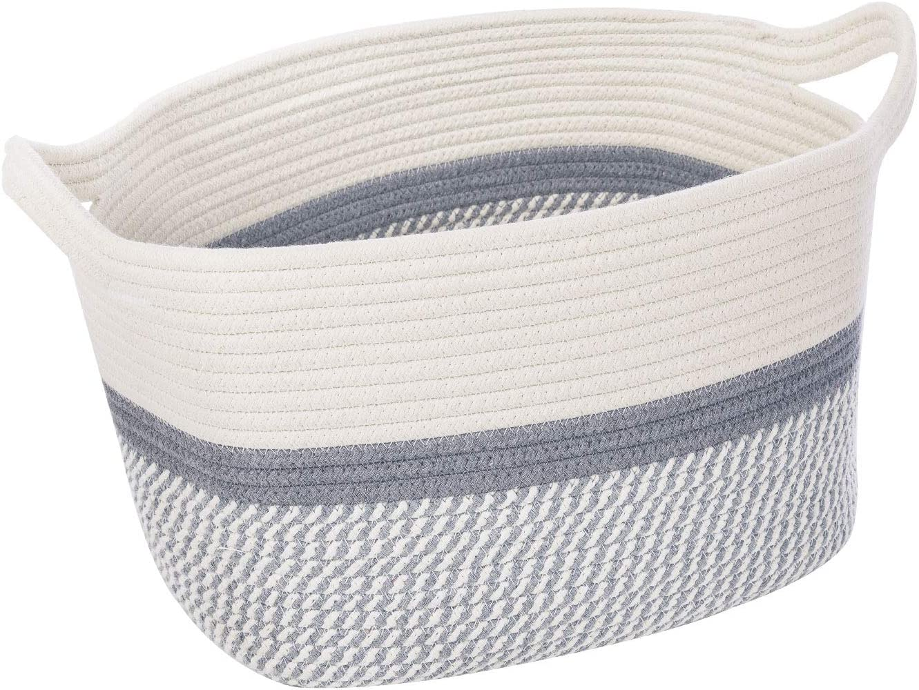 """CHICVITA Square Cotton Rope Woven Basket with Handles for Books, Magazines, Toys - Decorative Rectangle Basket for Baby Nursery, Living Room, Bathroom 13.5"""" x 11"""" x 9.5"""""""