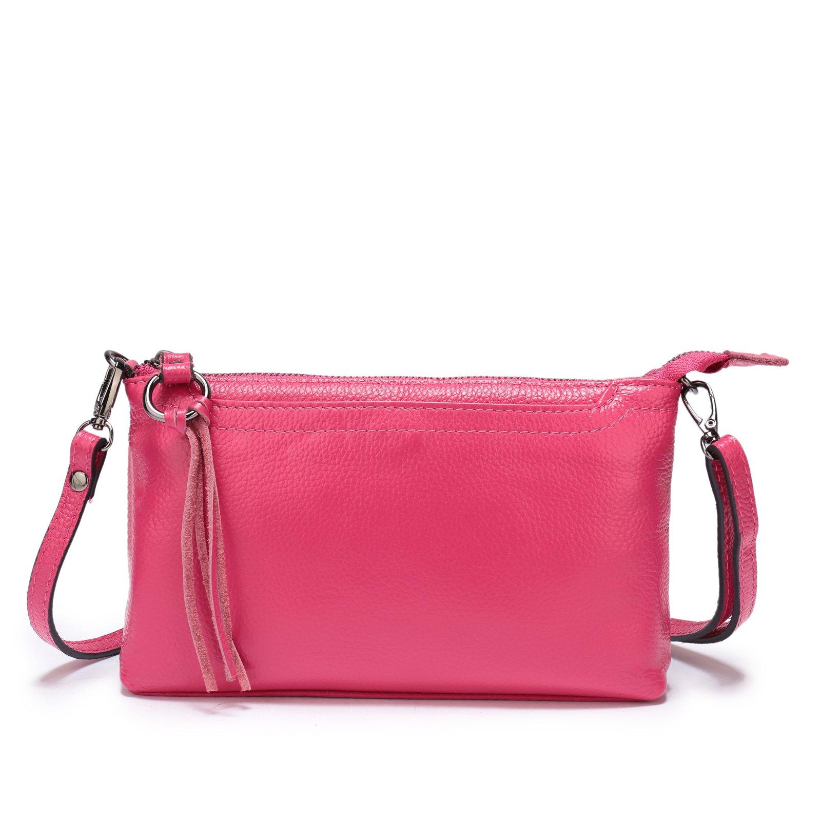 Lanvera Women's Crossbody Shoulder Bag Genuine Leather Zipper Clutch Purse Wallet Handbag (Rose Red)
