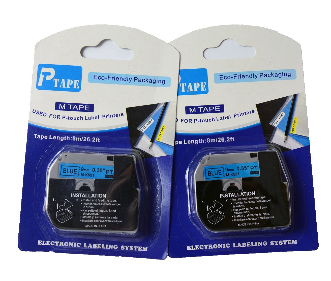 Amazon.com: 4 x Hartwii Black on Blue Label Cassette Compatible for Brother MK-521 9mm 8m Serial Label Tape (1/4 x 26