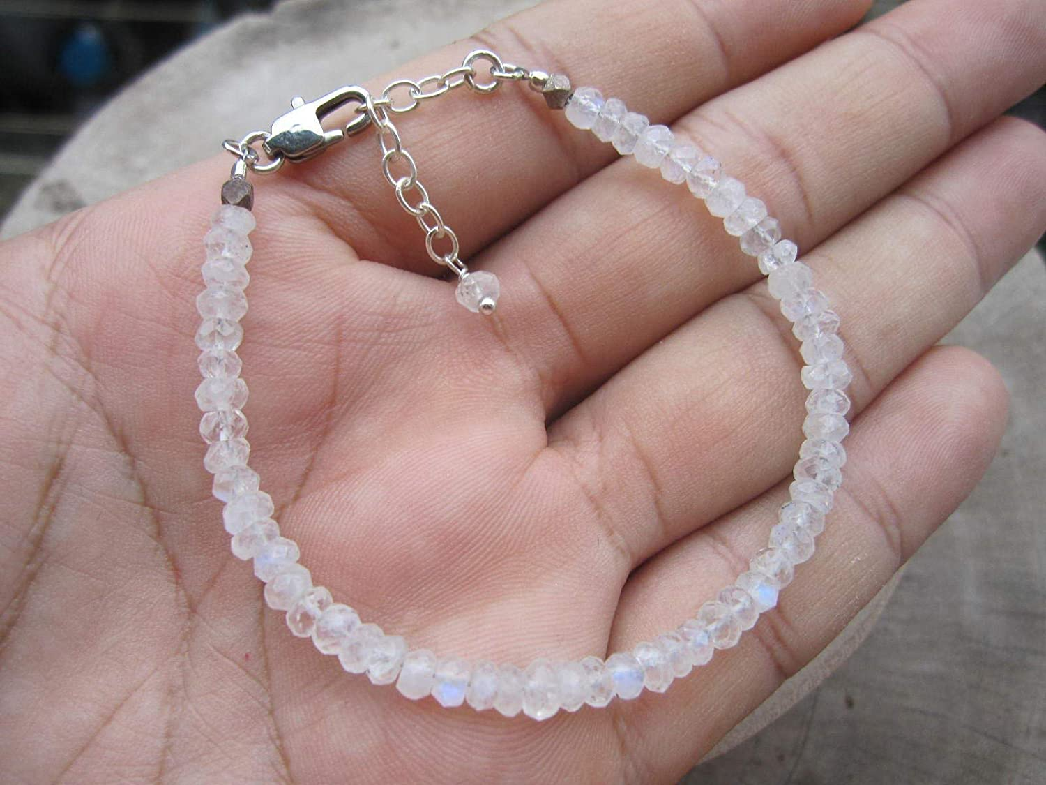 rencontrer apparence élégante grande vente Rainbow Moonstone Bracelet,925 Sterling Silver Chain Extender 1 Inch -  Adjustable from Size 6.5-7.5 Inches,BRM