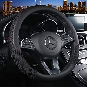 Cxtiy Universal Car Steering Wheel Cover Cool for Summer Warm for Winter Steering Wheel Cover Fit Most of Cars SUV Auto Vehicle (C-Black)