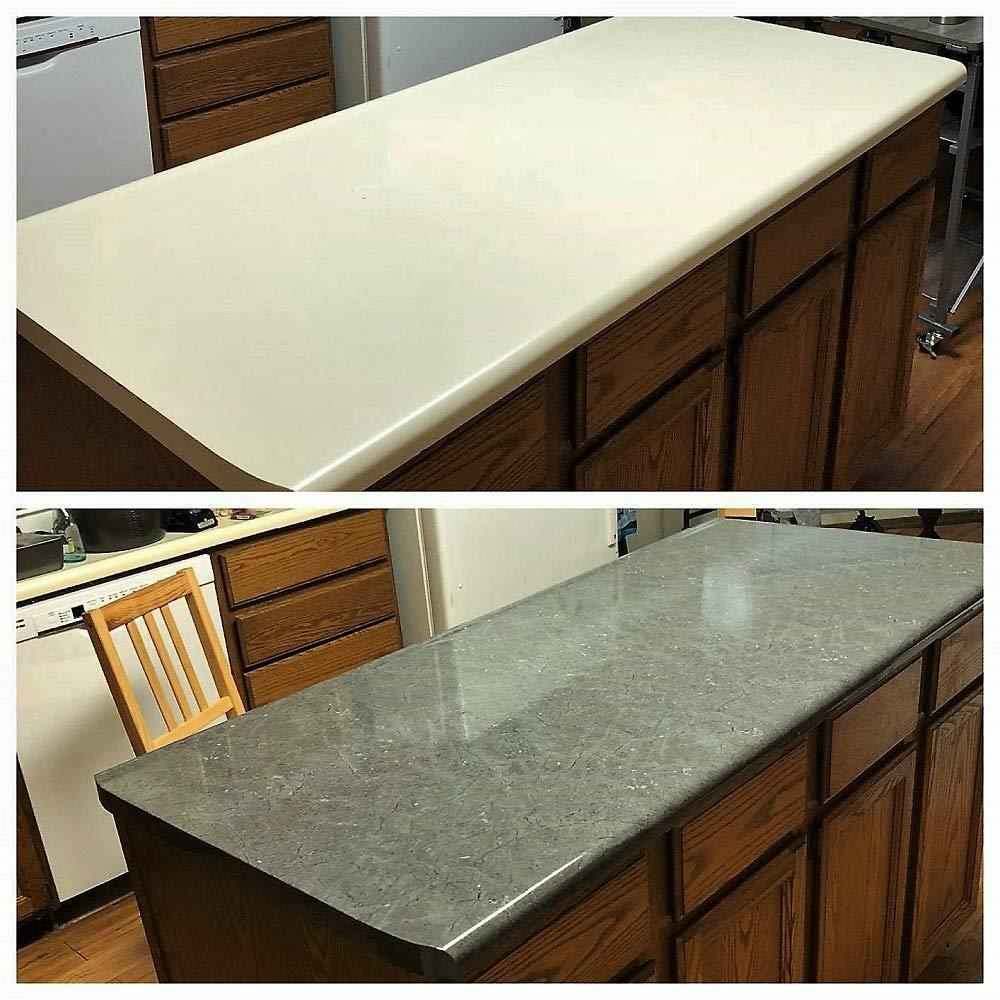 EZ FAUX DECOR Grey Soapstone Marble Look Peel and Stick Countertop Backsplash NO Paint Why? When You can Premium Peel and Stick 144'' x 36'' by EZ FAUX DECOR (Image #6)