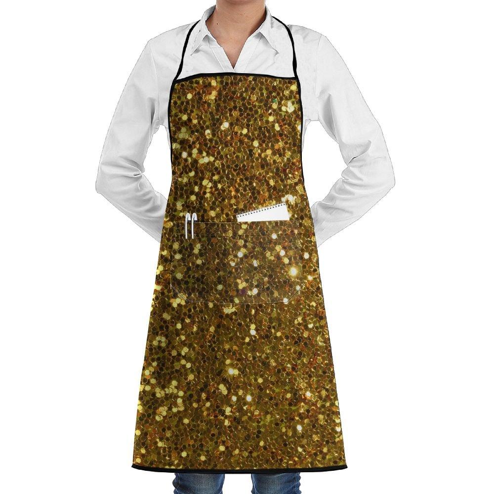 ゴールドスパンコール調節可能なウォータードロップ耐性with 2ポケットよだれかけエプロン料理キッチンエプロンレディースメンズのシェフ   B07FC7PD5J