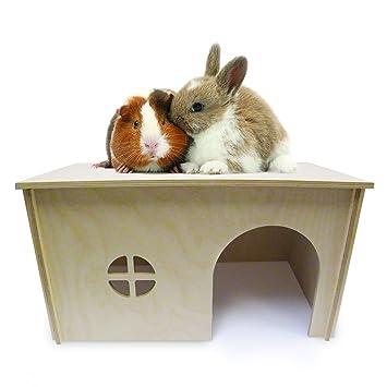 Yoosh Perchero de Madera fácil de Montar para Conejo, casa escondida. También Apto para cobayas/pequeños Animales: Amazon.es: Productos para mascotas
