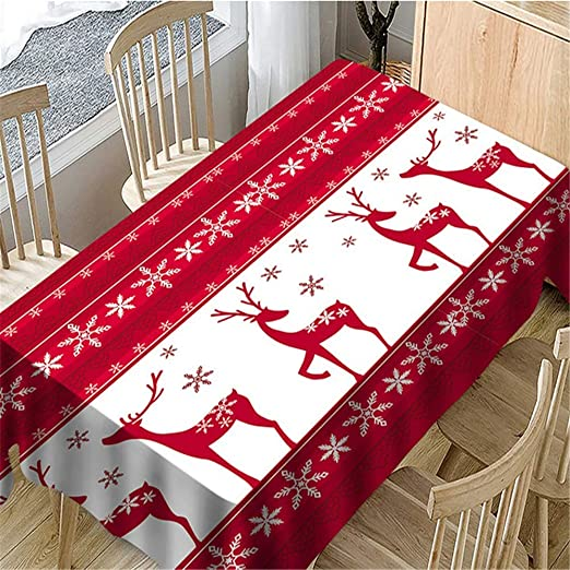 SONGHJ Algodón poliéster Rectangular Navidad Decorativo Mantel ...