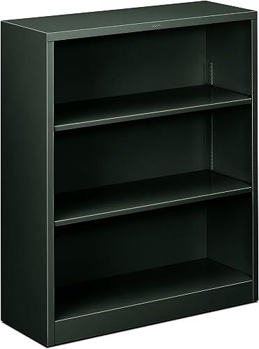 HON Metal Bookcase – 3-Shelf Bookcase, 34-1 2w x 12-5 8d x 41h, Charcoal HHS42ABC