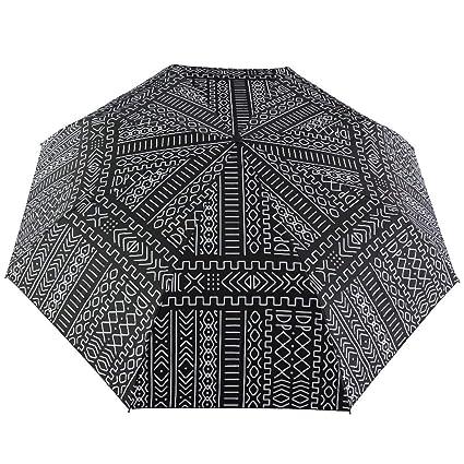 Cambio de color patrón de gotas Impermeable Triple Plegable Paraguas Unisex Negro