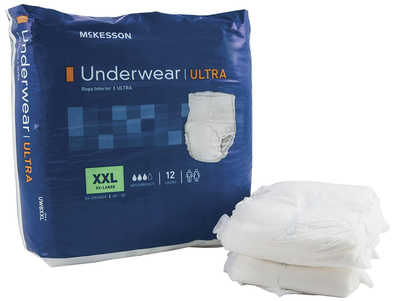 Amazon.com: McKesson UWBXXL Pull on Absorbent Underwear, XX-Large, 68