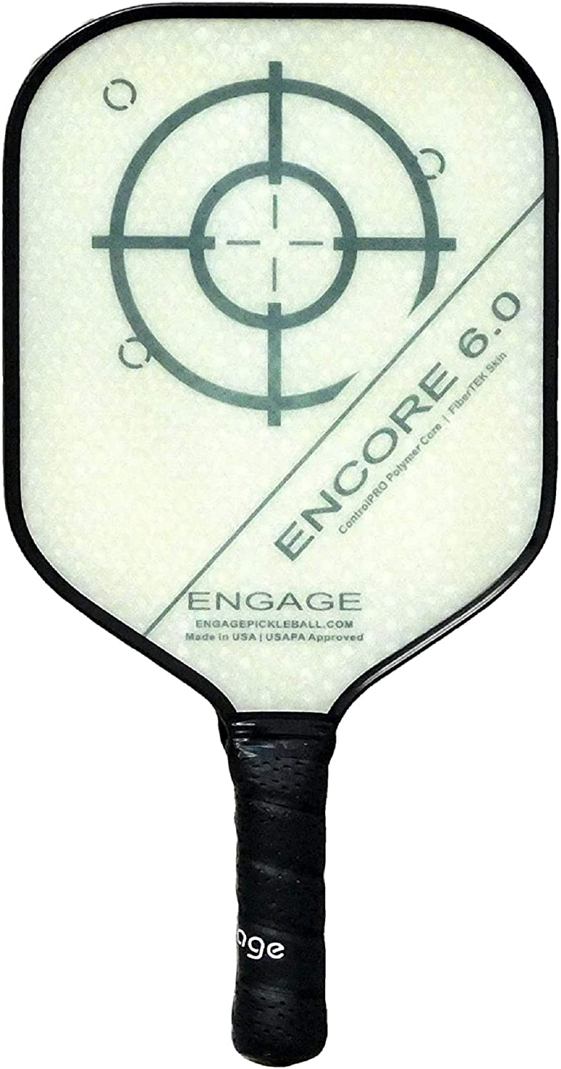 Thick Core for Control /& Feel Standard Weight 7.9-8.3 oz EP Engage Encore 6.0 Pickleball Paddle Built for Power /& Large Sweet Spot New for 2020