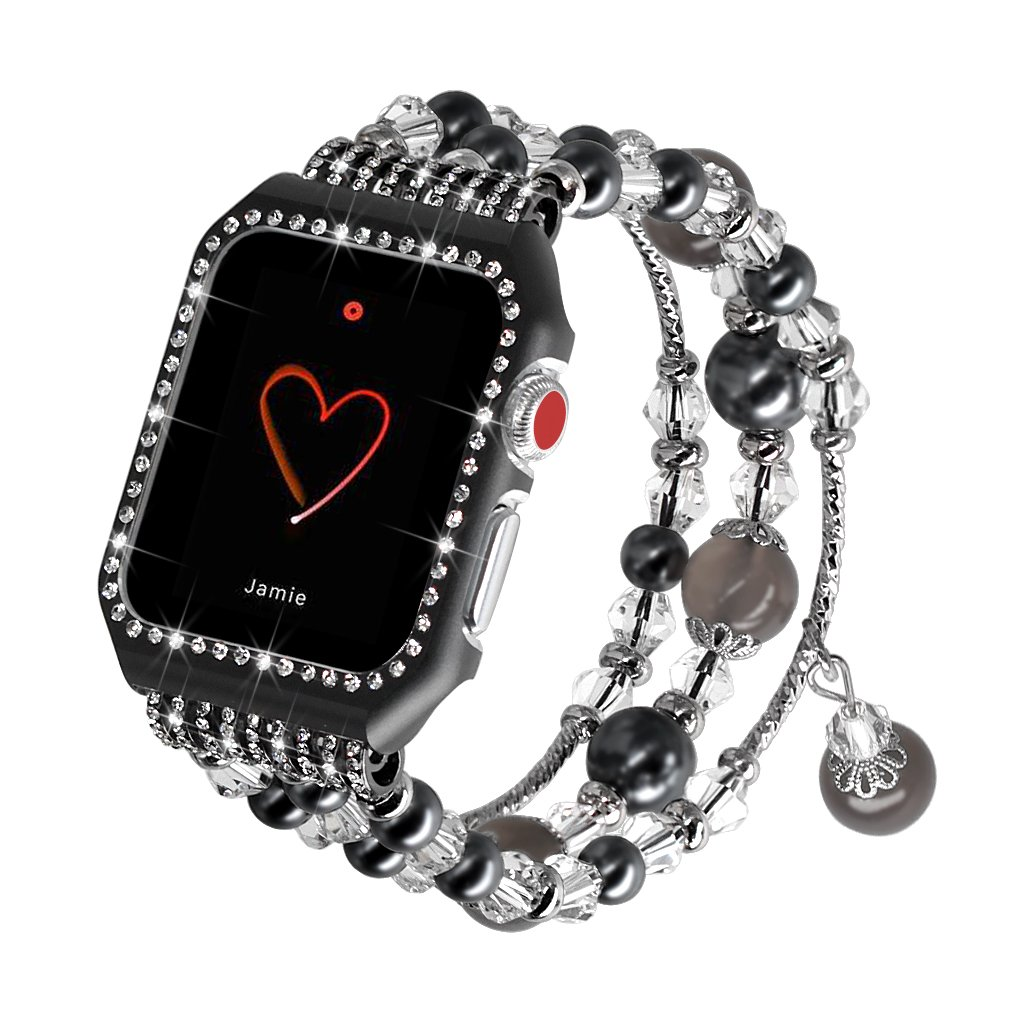 Falandi Apple Watch Band 38mm, Glittering Diamond Metal Black Case with Handmade Elastic Stretch Bracelet Fashion Women Girls Rhinestone Replacement Strap for iWatch Series 3/2 / 1 (S, Black-38mm) by Falandi