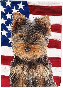 Caroline's Treasures KJ1160GF USA American Flag with Yorkie Puppy/Yorkshire Terrier Flag Garden Size, Small, Multicolor