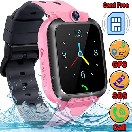 Waterproof Kids Smart Watch Phone [Provide 2G SIM Card] GPS+LBS Tracker Location Smartwatch for Age 3-12 Boys Girls Touchscreen Wrist Watch SOS Call ...