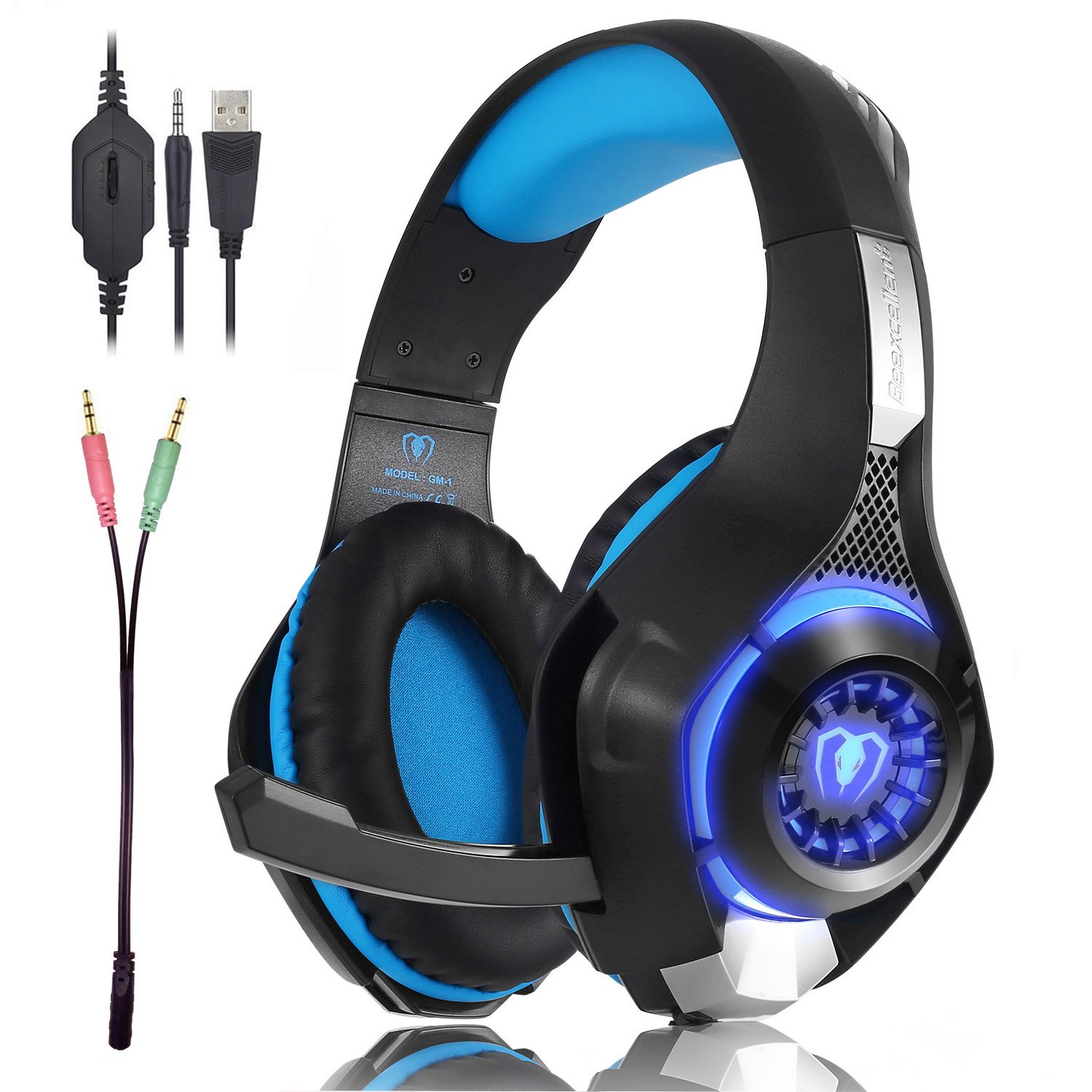 Beexcellent Gaming Headset GM-1 with Microphone for New Xbox 1 PS4 PC Cellphone Laptops Computer - Surround Sound, Noise Reduction Game Earphone-Easy Volume Control with LED Lighting 3.5MM Jack(Blue) by Beexcellent