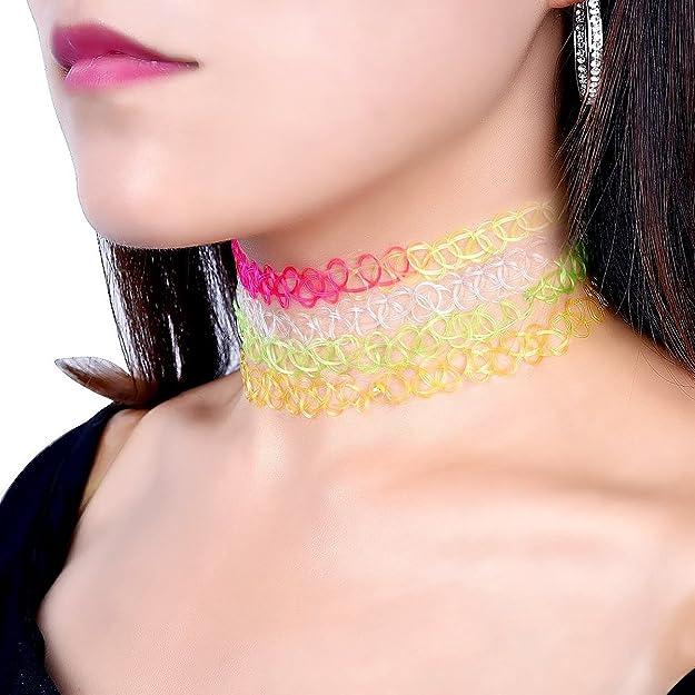 Tinksky tatuaje Choker Collar Extensible gótico tatuaje henné elástico braga de cuello collar Set, Pack de 12: Amazon.es: Joyería