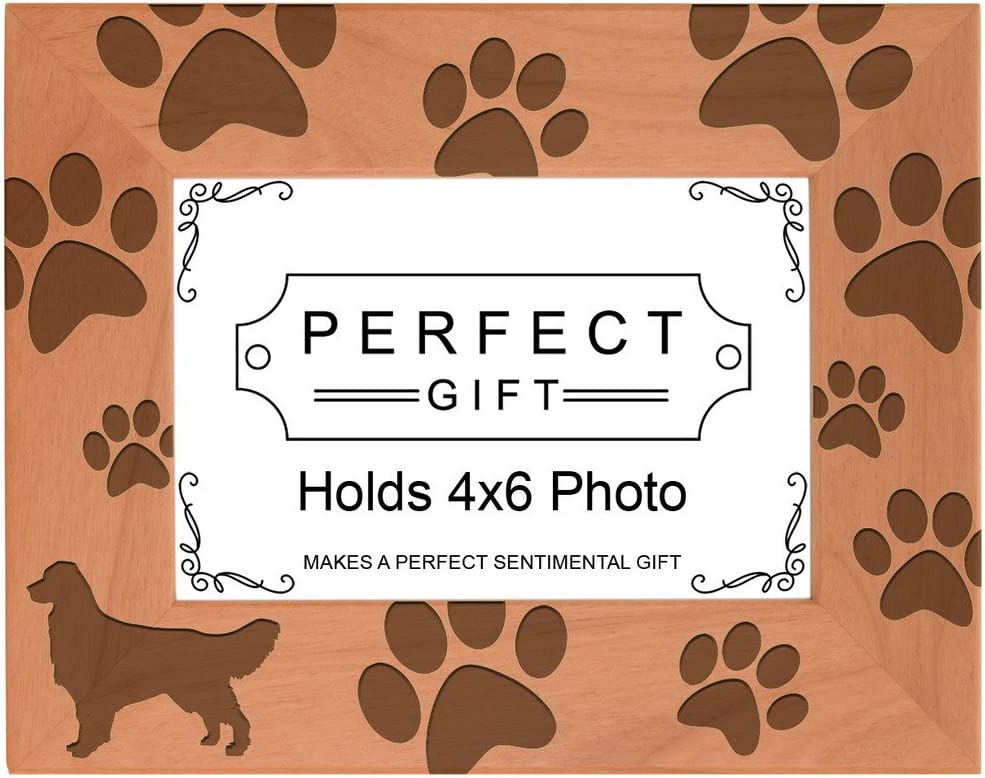 Golden Retriever Landscape Picture Frame 4 x 6 With Hand Cast Pewter Motif Mother Father Golden Retriever Gift