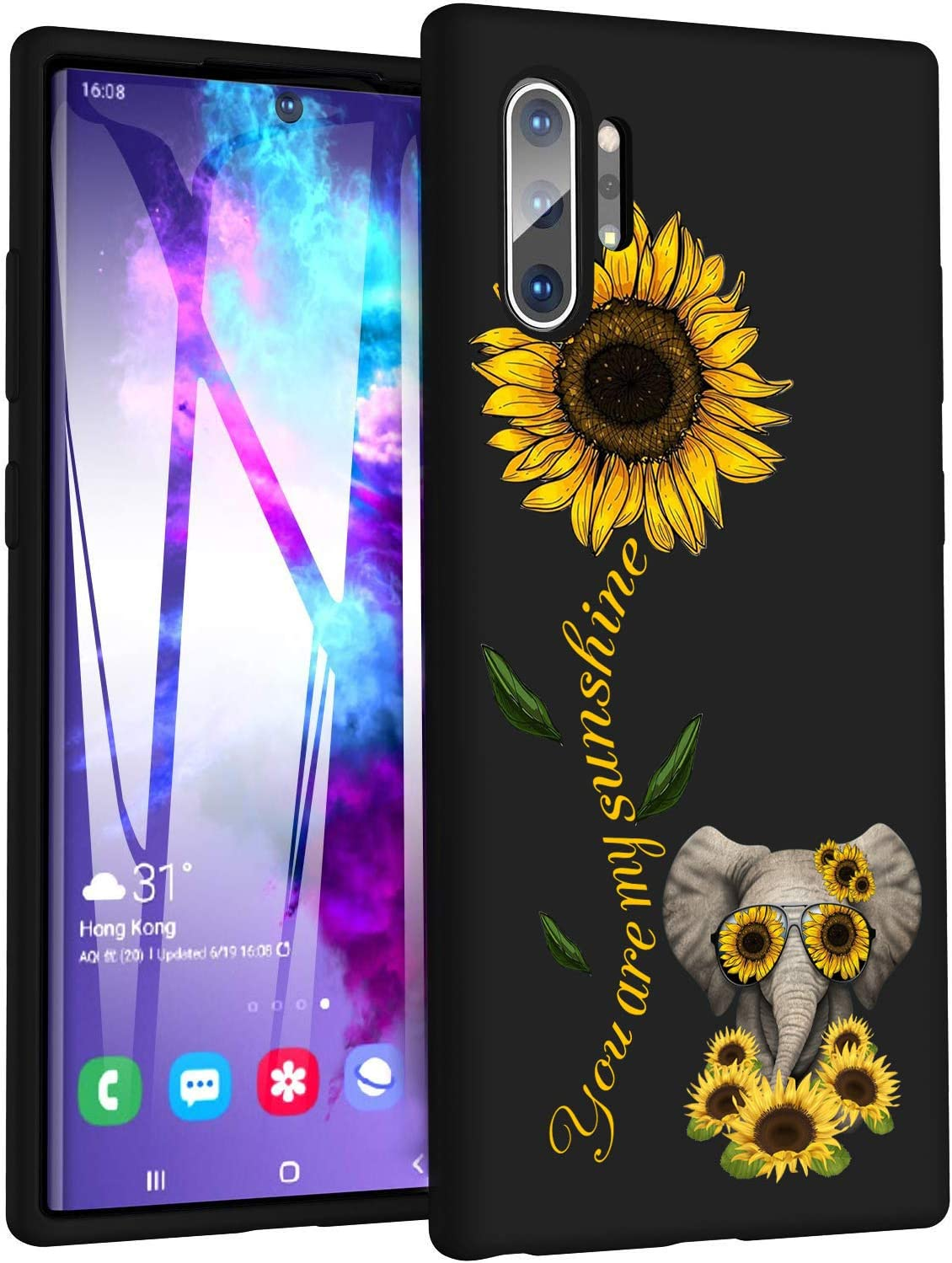 Good-Luck Galaxy Note 10 Plus/Note 10 Plus 5G Case,Sunflower and Cute Elephant Slim Anti-Scratch Shockproof Leather Grain Soft TPU Back Protective Cover Case for Samsung Galaxy Note 10 Plus (2019)