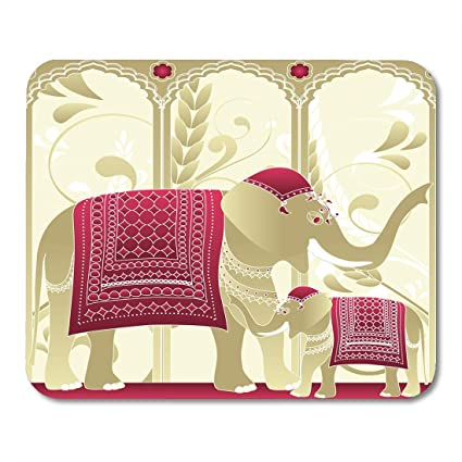 Boszina Mouse Pads Rajasthan Arch Decorated Indian Elephant Mother And Baby  In Palace Royal India Mouse