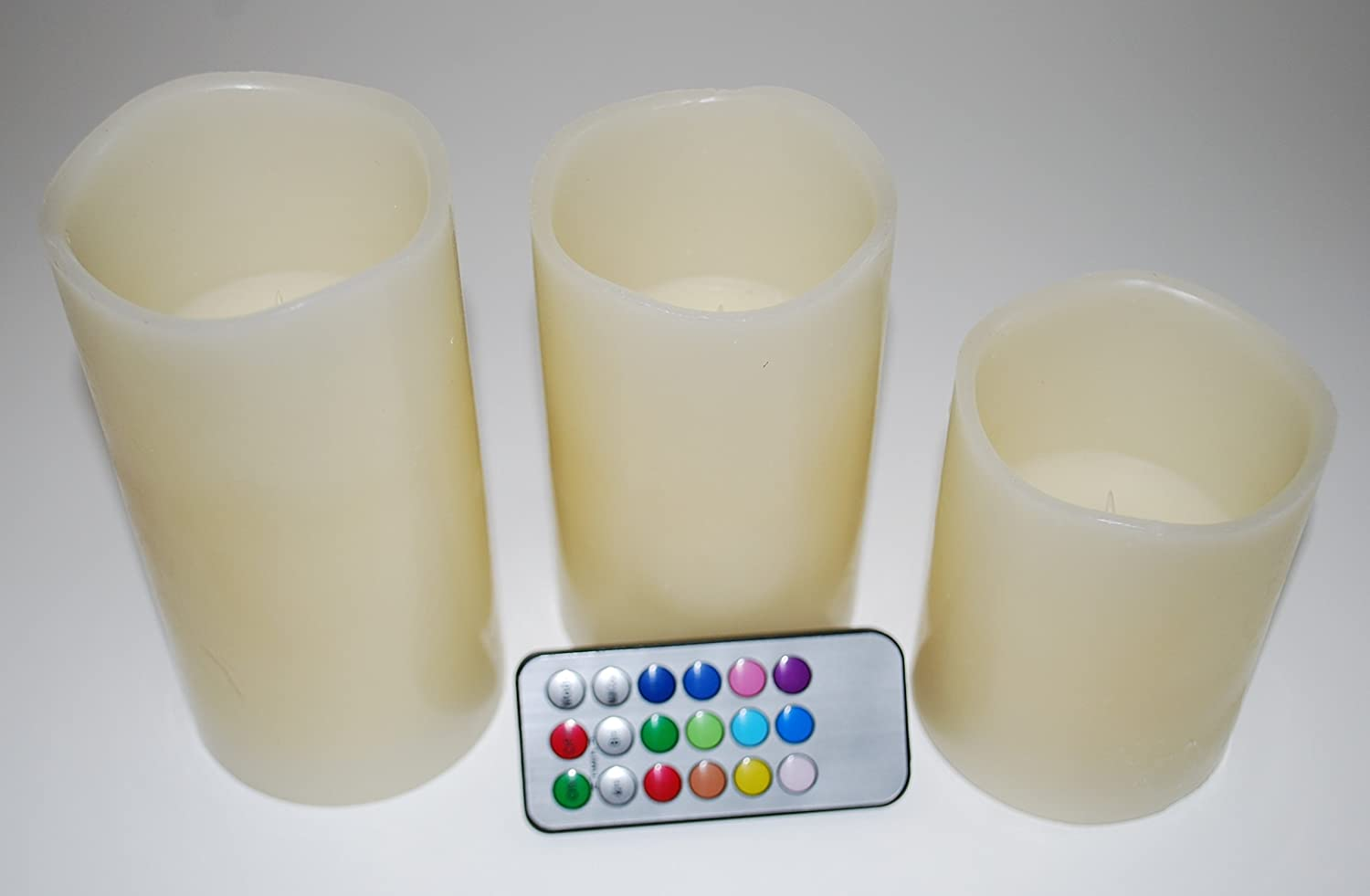 LED Flameless Candles – マルチカラー – リモート制御さ電池式(セットof 3 ) – Real Wax – No Messyクリーンアップ B01BXBL0P8