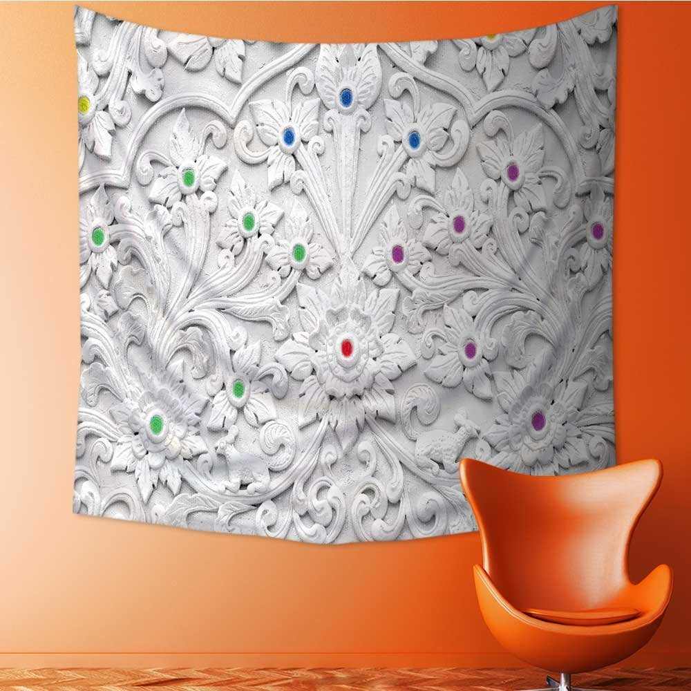 Muyindo Tapestry Wall Hanging Mysterious Tapestry white stucco design of native thai style on the wall Tapestry Art for Home Decor/27.5W x 27.5L INCH