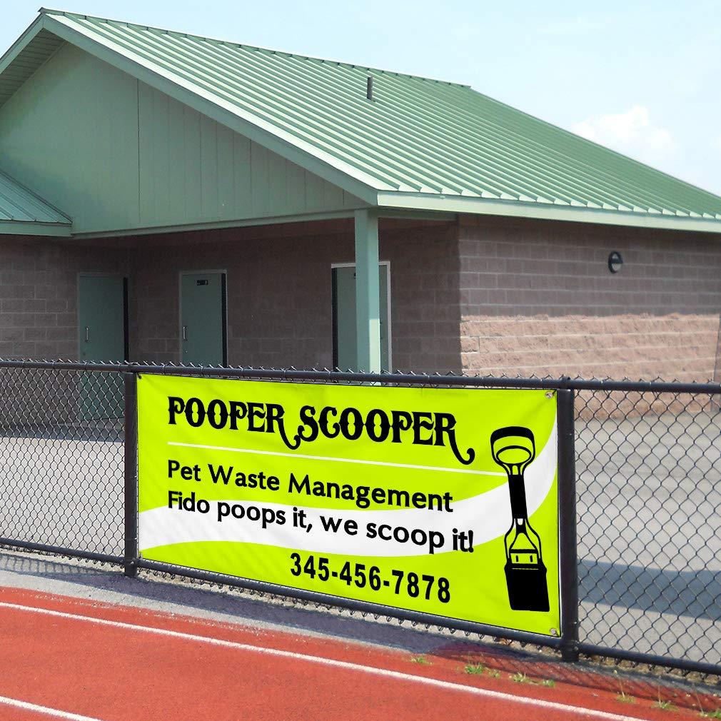 Custom Vinyl Banner Sign Multiple Sizes Pooper Scooper Waste Management Green Business Outdoor Green 8 Grommets 48inx96in Set of 3