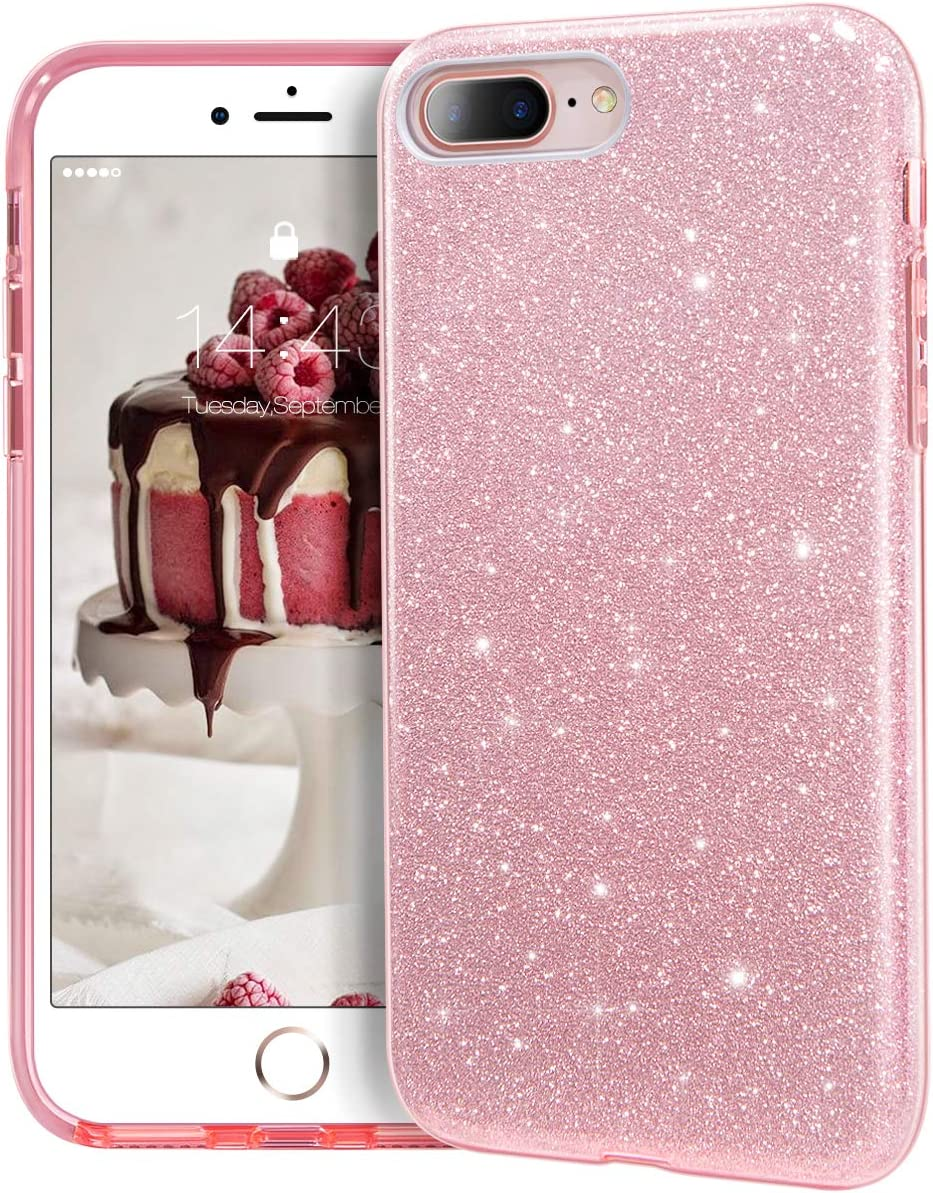 "MATEPROX iPhone 8 Plus case,iPhone 7 Plus Glitter Bling Sparkle Cute Girls Women Protective Case for iPhone 7 Plus/8 Plus 5.5"" (Pink)"