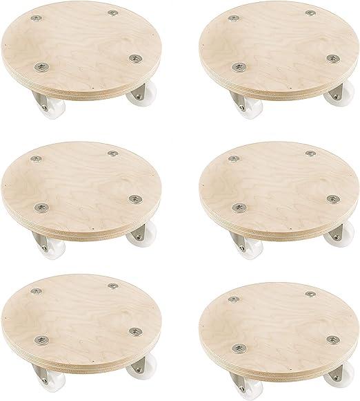 Tondo in Legno con 4 Ruote 3 Pezzi, Diametro 27 cm Cemab Grande capacit/à di carico Fino a 140 kg Carrello Porta Vaso per Piante e Fiori Colore: Betulla Naturale