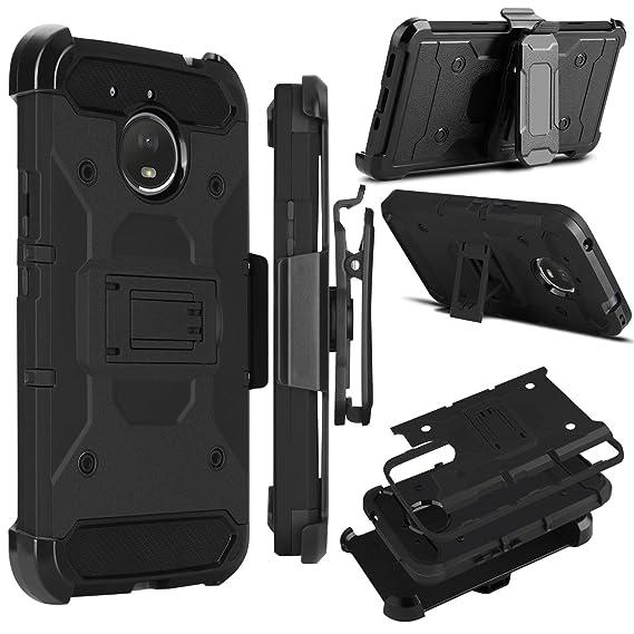 super popular 1f085 b5882 Moto E4 Plus Case, Zenic Heavy Duty Shockproof Hybrid Full-body Protection  Case Cover with Swivel Belt Clip and Kickstand for Moto E Plus (4th ...