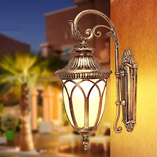 Traditional Lantern Bronze /& Clear E27 Wall Light Outdoor Garden Porch Door