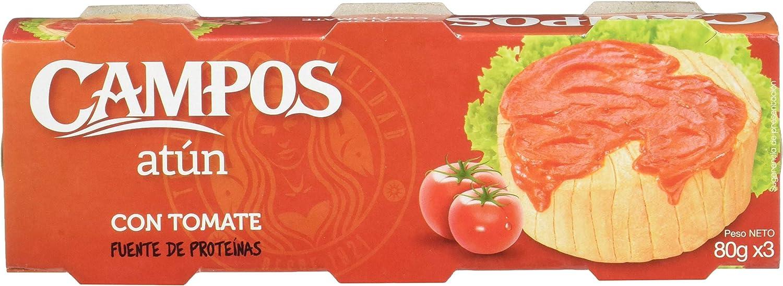 Campos, Conserva de atún en tomate - pack de 3 latas de 80 gr.