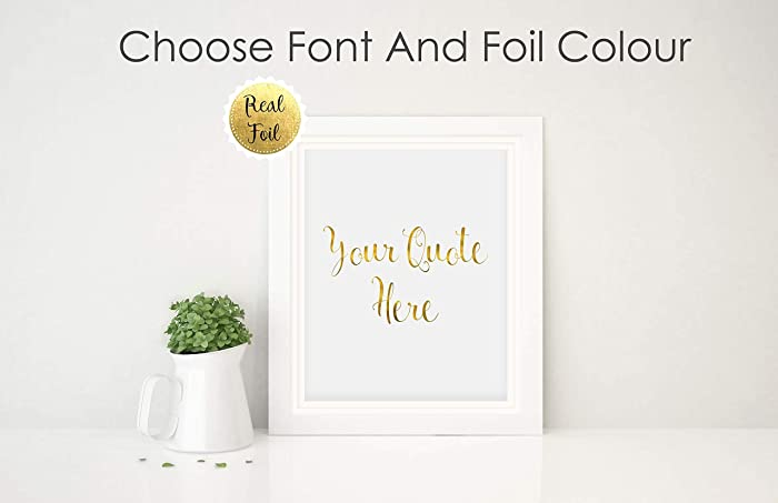 93e6a11c695b7 Custom Quote Print Personalised Gold Foil Prints, Custom Text Poster ...
