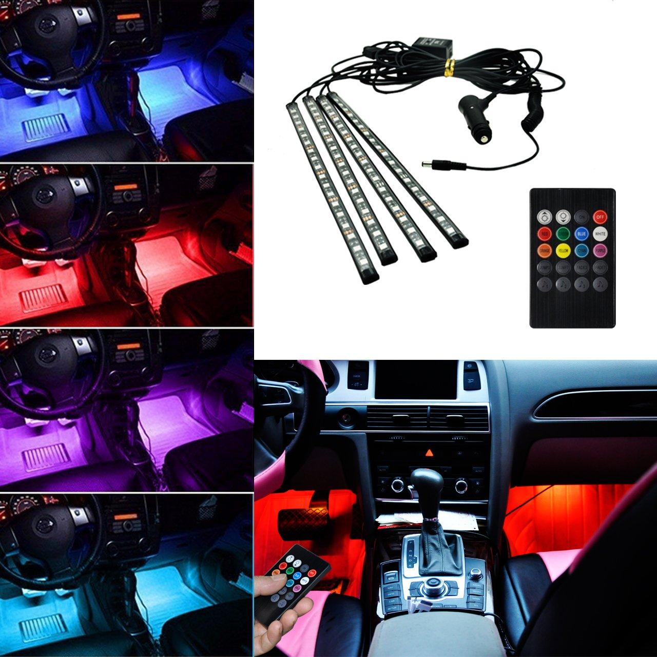 15 LEDs avec Son Fonction Active Universal Fitment BRTLX LED Voiture /Éclairage Int/érieur Atmosph/ère D/écoratif RVB Bande Lumi/ère Kit 12 V 4