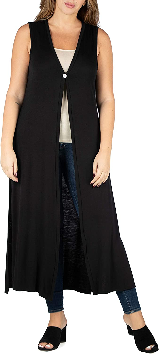 24seven Comfort Apparel Womens Plus Size Sleeveless Long Ankle Length Maxi Cardigan Shrug Duster Vest Made in USA 1X-3X