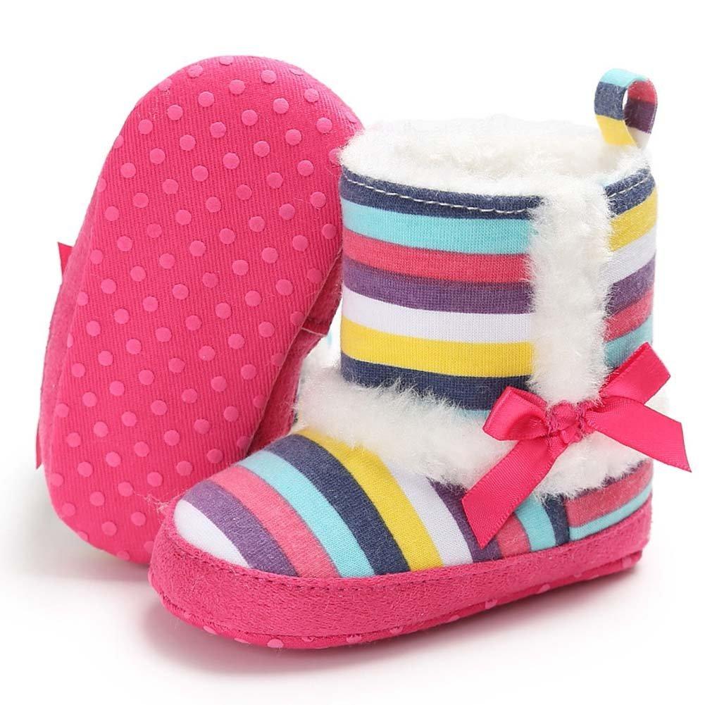 Baorong Baby Girl Soft Sole Rainbow Stripe Coral Fleece Bowknot Winter Snow Boots