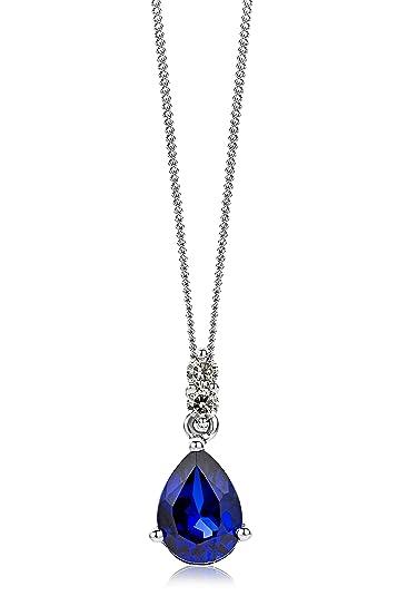 Miore Necklace - Pendant Women Yellow Gold 9 Kt/375 Blue Sapphire Chain 45 cm APmbDJ8ENa