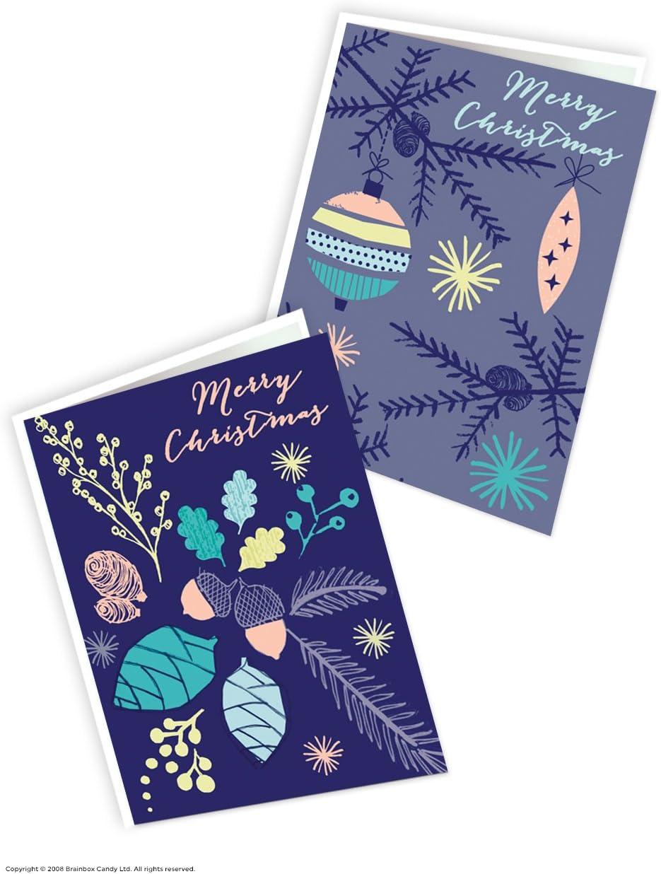 Pack de 12 bonitas tarjetas de Navidad de color azul alpino, 2 diseños diferentes: Amazon.es: Oficina y papelería