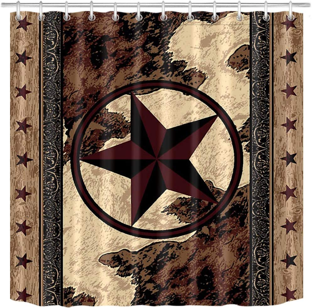 LB Rustic Texas Star Western Shower Curtains,Vintage Wood Barn Door Farmhouse Shower Curtains for Bathroom Waterproof Fabric 69x72 Inch with Hooks