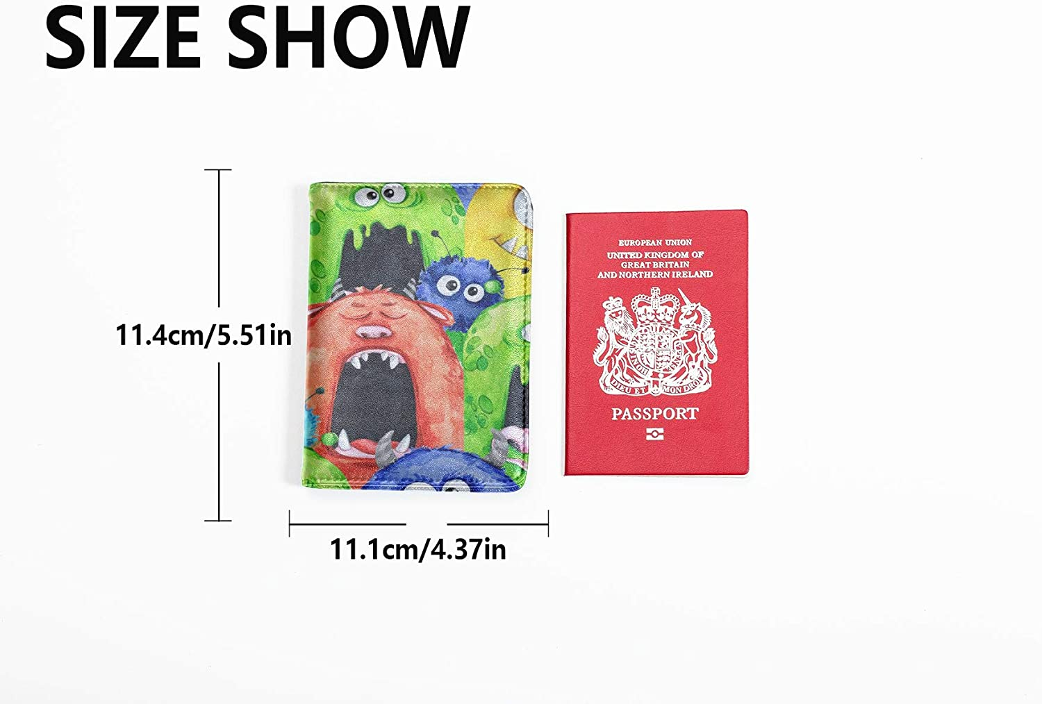 Passport Cover Waterproof Cute Personification Cartoon Image Hard Case Passport Holder Multi Purpose Print Case For Passport Travel Wallets For Unisex 5.51x4.37 Inch