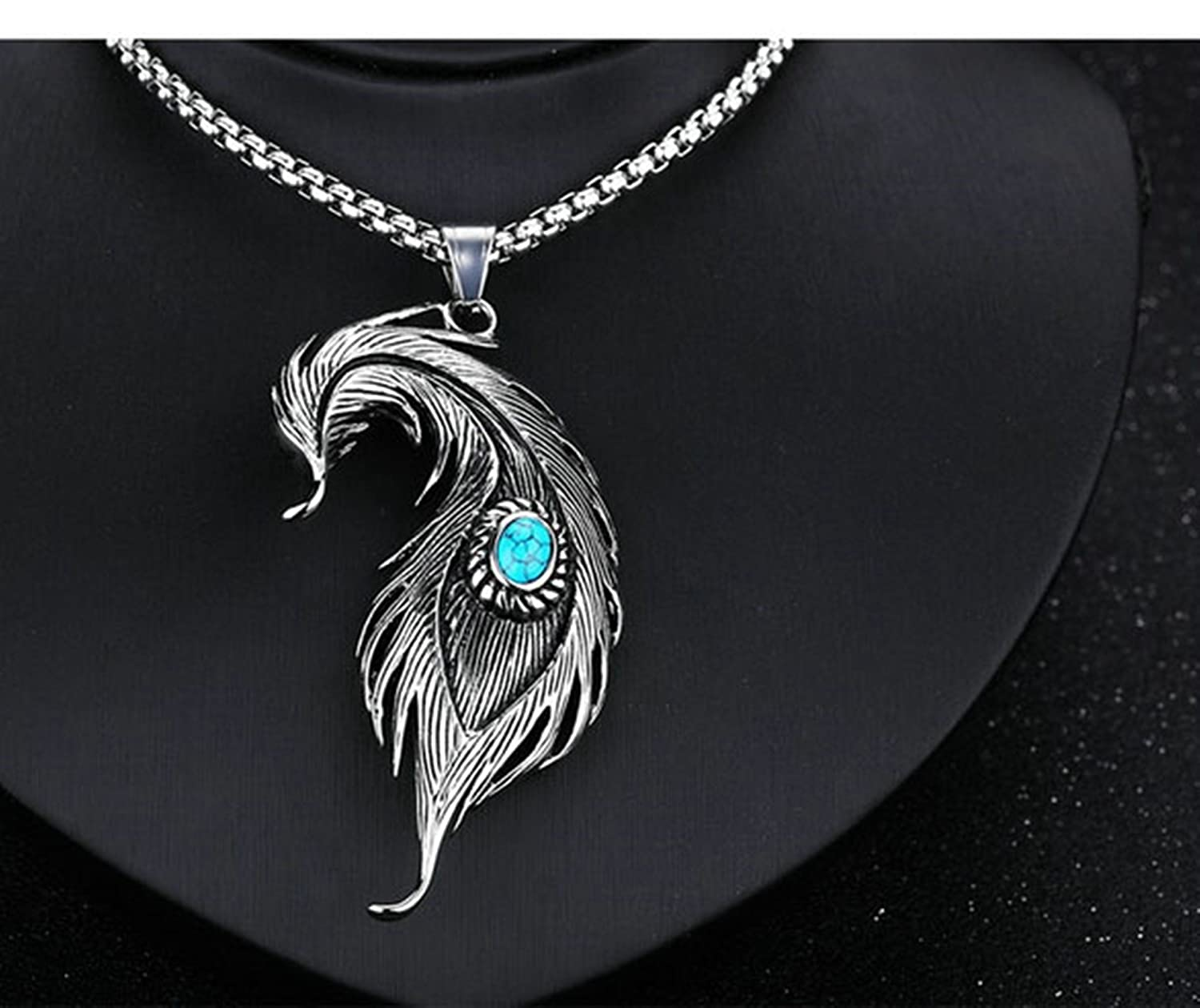 MoAndy Necklace Chain Stainless Steel Necklace for Men Feather