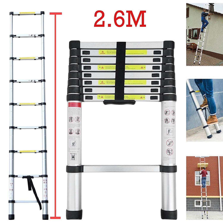 Teleskopleiter YUMUN 3.8M Alu Leiter Ausziehbar Haushaltsleiter Teleskopleiter Aluminium Klappleiter Ausziehleiter Mehrzweckleiter -Maximale Belastbarkeit 150 kg Shenzhen Yu Meng Ke Ji Co.Ld