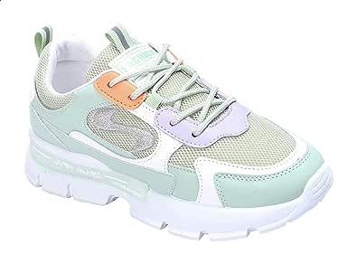 حذاء رياضي برباط بجزء علوي شبكي واجزاء مختلفة اللون للنساء من جرينتا - اخضر وابيض، 39 EU